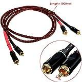 CynKen 2pcs L-4E6S RCA Aluminum Double Head Audio Cable 1000mm