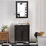 AECOJOY 24 Inches Bathroom Cabinet with Mirror, Espresso Wood Vanity Units, Morden Sink Stand Pedestal