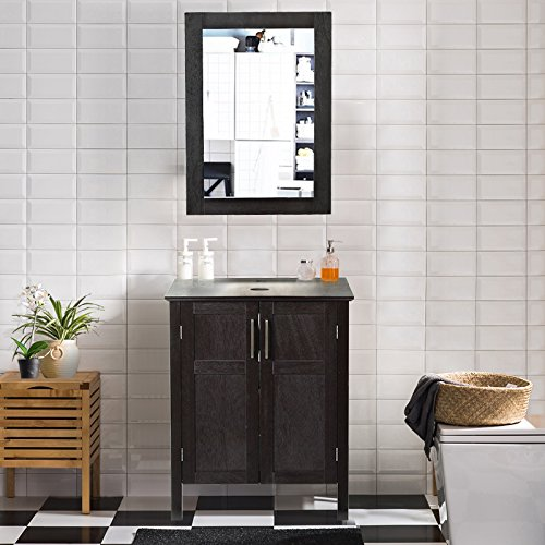 AECOJOY 24 Inches Bathroom Cabinet with Mirror, Espresso Wood Vanity Units, Morden Sink Stand Pedestal
