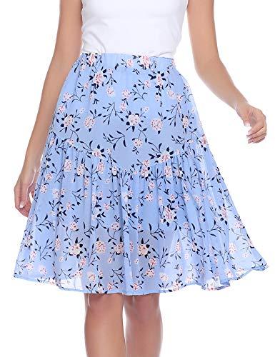 Aibrou Women's Dot Floral Print Ruffle Mini Skirt High Waist A line Skirts with Tassels ()