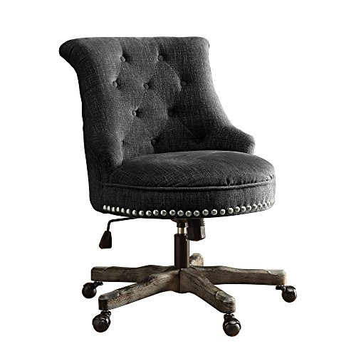 Linon AMZN0238 Talia Charcoal Office Chair, (Not Upholstered Office Chairs)