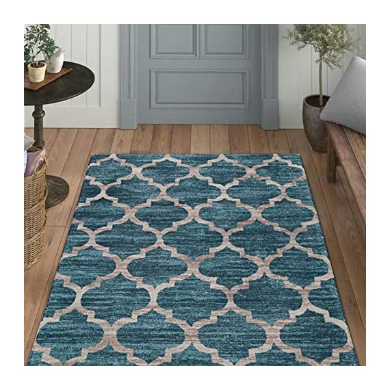 Lahome Moroccan Area Rug -3' X 5' Faux Wool Non-Slip Area Rug Accent Distressed Throw Rugs Floor Carpet for Living Room… - EXCLUSIVE DESIGN CONCEPT - Lahome Area Rug's pattern is distinctive, which own fine workmanship and has a variety of patterns to choose, is a great decoration for your home. They're a great way to show your personal style and suit the fussiest of feet. NON-SLIP BACKING - Crafted with the highest quality 100% faux wool fibers with skid resistant TPR backing(No Additional Rug Pad Needed), Non slip latex backing design is an ideal for laminate and wooden floor surfaces. DIMENSIONS - The Lahome rug size is 3'x 5' (90 x 150 cm), surprisingly soft for being touch friendly and plush yet stand up to high traffic, which is comfortable, warm and breathable, providing great comfort for your bare feet. - living-room-soft-furnishings, living-room, area-rugs - 51xleopIXzL. SS570  -