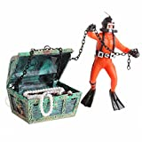 OWIKAR Aquarium Decor Resin Frogman Treasure Hunter Frogman Under Sea Diver Treasure Chest Aerating Fish Tank Decoration Landscape Small Size (Orange)