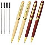 Cambond Ballpoint Pens, 4 Pack Wood Rosewood Ballpoint Pen Black Ink Nice Gift Pen Set Office Luxury Retractable Ballpoint Pens (1.0mm) Signature Executive Business Pen for Men Women