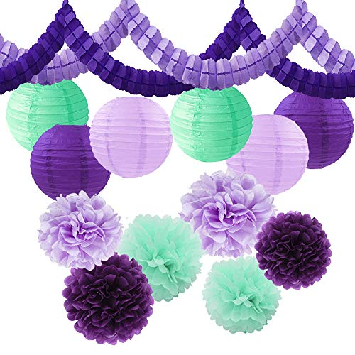 Unicorn Mermaid Girls Birthday Party Supplies 14pcs Lavender Purple Mint Green Tissue Paper Pom Pom + Streamers Garland + Paper Lantern for Baby Shower Wedding Bridal Shower Nursery Decor]()