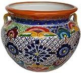 Medium Multicolor Talavera Ceramic Pot For Sale