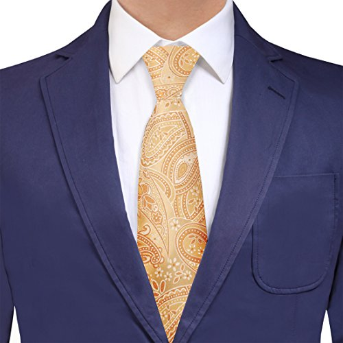 - Y&G YAQB0021 Light Yellow Gold Paisley Boyfriends Woven Jacquard Silk Tie Luxury For Dad Neck Tie
