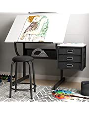 SogesPower Craft Station with 1 Stool Craft Center Adjustable Drawing Desk Drafting Table with 3 Storage Drawers Drawing Desk Painting Desk Reading Desk, SPCZKLD-029-CA