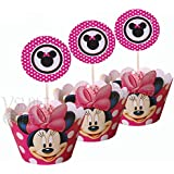 Amazoncom Minnie Mouse Cake Cupcake Toppers Party Supplies