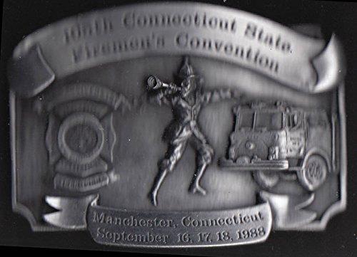 Connecticut State Firemen's Convention commemorative belt buckle Manchester 1988