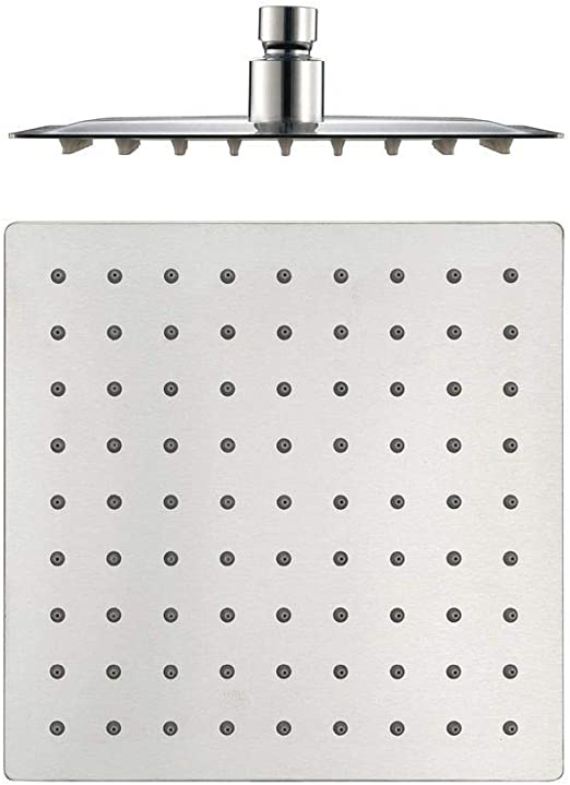 Pommeau de douche fixe ultra fin en acier inoxydable 304 chrom/é brillant 20,3 cm