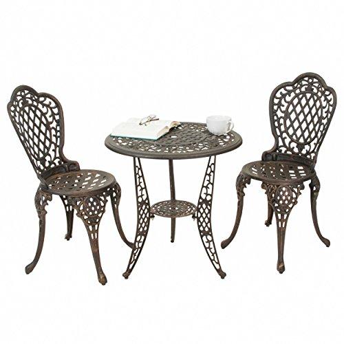 Bronze Cast Aluminum Patio Furniture Bistro Set, 3-Piece