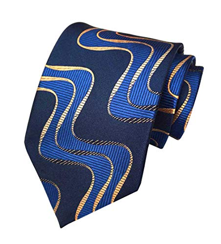 MENDENG Classic Mens Navy Blue Gold Wave Tie Silk Necktie Wedding Woven Ties