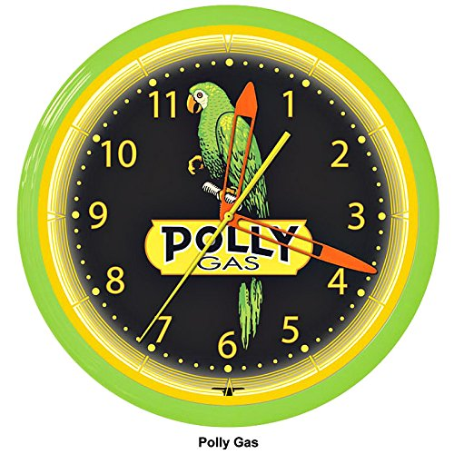 Polly Parrot Gas Station Gasoline Neon Wall Clock 20