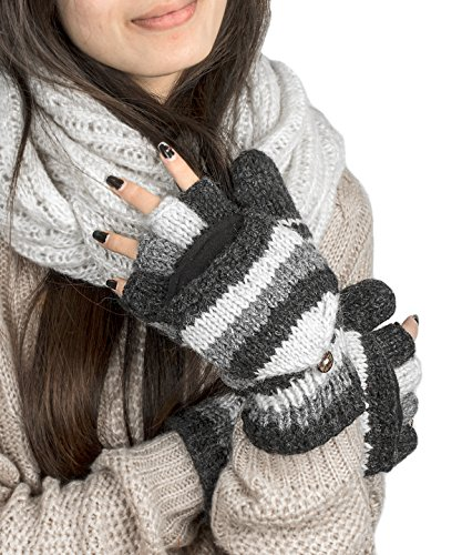 Soft Pure Wool Warm Winter Convertible Gloves Mittens Grey Snow Fleece Windproof