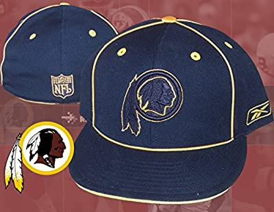 Washington Redskins Fitted Size 7 5/8 Hat Cap - Black w/ Gold Accent