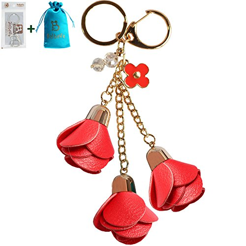 Bolbove 3 Leather Roses Keychain Backpack Flowers Keyring Purse Pendant Handbag Charm (Red)