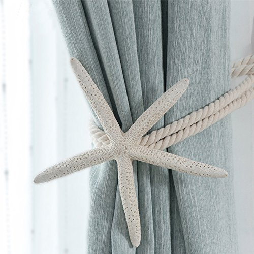 Chictie 2 Pieces Natural Starfish Curtain Tiebacks Rope Drape Cotton Tie Band Drapery Holdbacks Beige White Room Décor for Indoor/Outdoor (Tiebacks Shell Curtain)