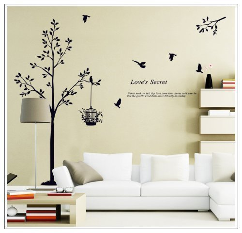 OneHouse Tall Black Tree with Birds and Birdcage Love's Secret Quote Wall Decal Sticker Decor (Wall Tree Decor)