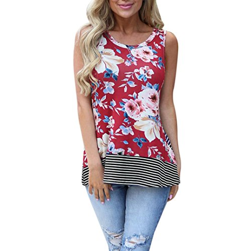 Nikuya Women Summer Beach Vest Top Sleeveless Blouse Casual Tank Loose Tops T-Shirt (XL, - Blouse Charmeuse Ruffled