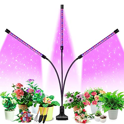 Grow Light, HOOMEDA Tri Head Grow Lights for Indoor Plants with Red Blue Spectrum, 4/8/12H Timer, 10 Dimmable Brightness…