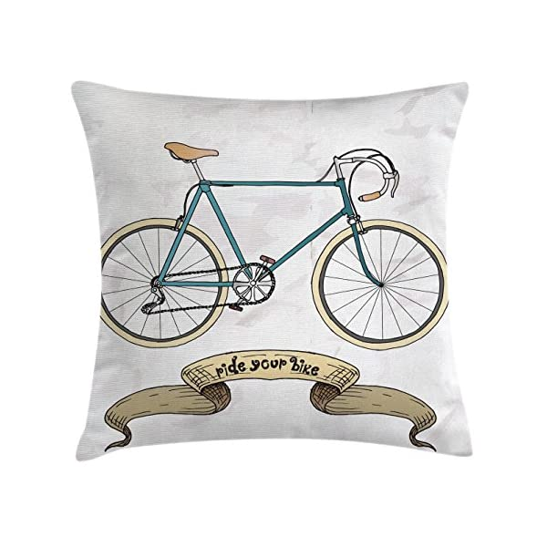 Retro Throw Pillow Cushion Cover By Ambesonne Ride Your Bike Best Hipster Decorative Pillows