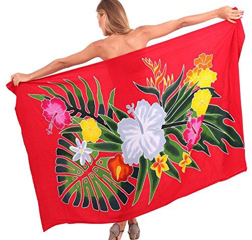 sarong del bikini encubrir vestidos de ropa de playa complejo de traje de baño de la piscina pareo hawaiano Rojo De Cadmio