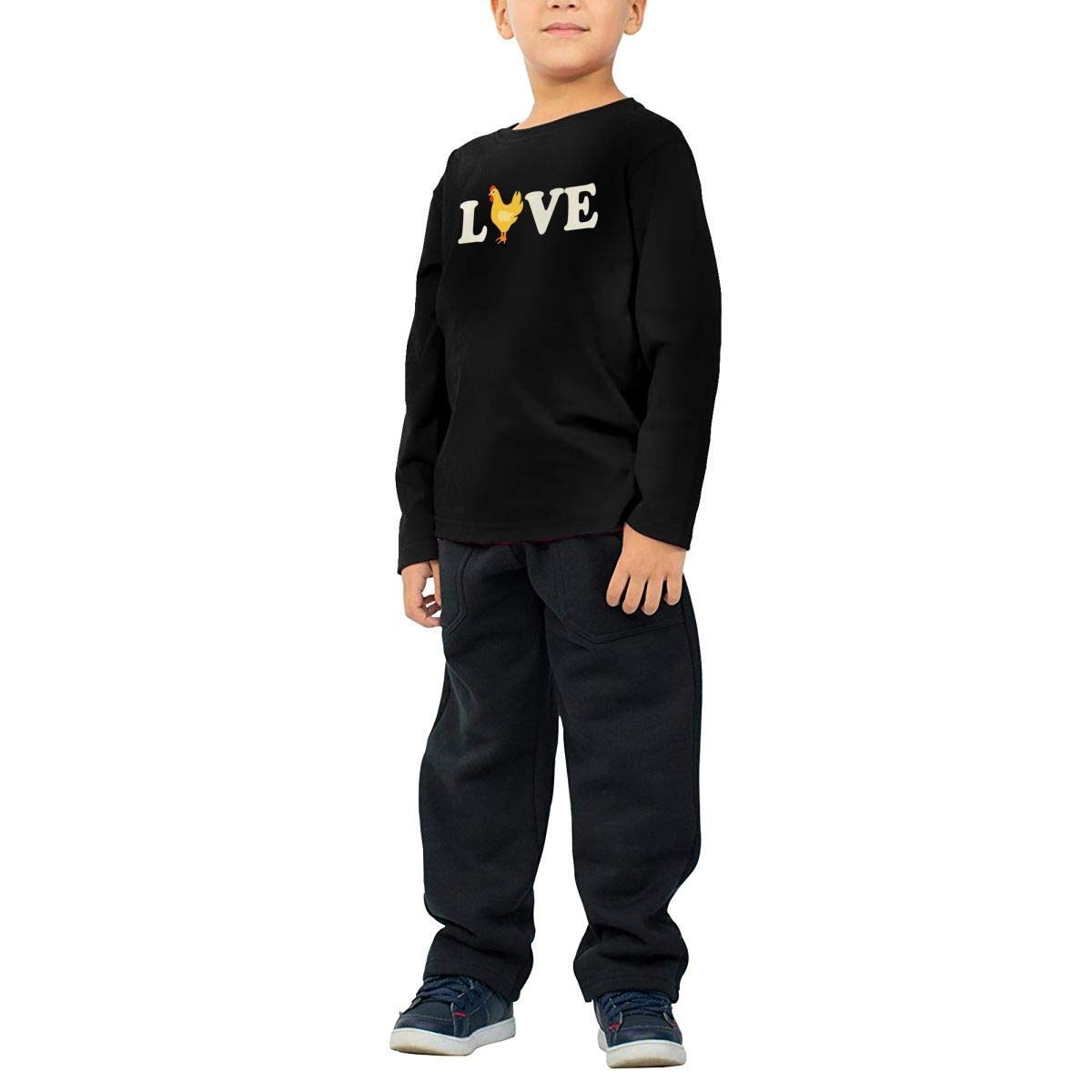 Love Chickens Kids Boys Girls O-Neck Long Sleeve Shirt Tee for Toddlers
