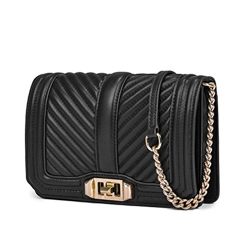Small Cowhide Bag Cell Strap Chain Shoulder Crossbody Bags Soft Black Women's with Phone pTZRwEBq