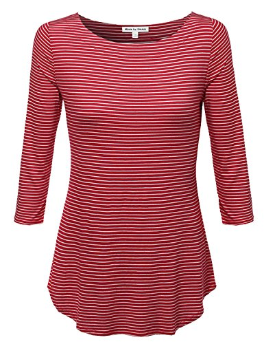 Made by Emma Stripe Boatneck 3/4 Sleeeve Tee Red S