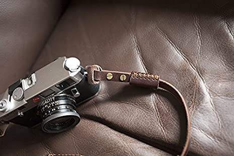 Handmade Genuine Real Leather Crazy-horse Leather Camera Strap Neck Strap for Film Camera Evil Camera Brown