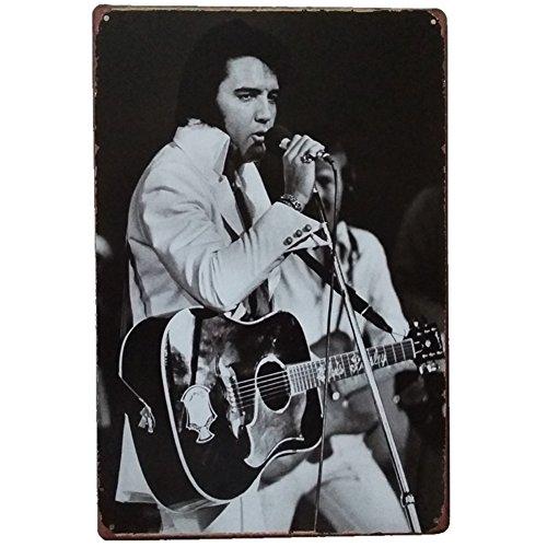 Celebrity Figures Retro Vintage Bar Metal Tin Sign Poster Style Wall Art Pub Bar Club Wall Home Decor12 X8 (Elvis Presley) (Presley Sign Elvis Tin)