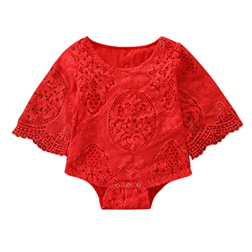 Tronet Onesies Baby boy/Girl Newborn Kids Baby Girls Outfit Clothes Flower Lace Half Sleeve Romper Bodysuit