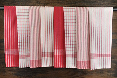 DII 100% Cotton, Ultra Absorbent, Drying & Cleaning, Everyday Kitchen Basic, Classic Stripe Dishtowel, 20 x 28, Set of 8- Red by DII (Image #6)