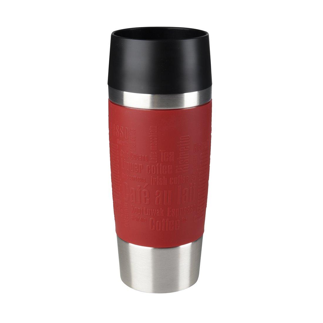 Emsa Travel Mug - Taza térmica de 0,36 l, mantiene calor 4 h y frío 8 h, acero inoxidable con base antideslizante y zona de agarre de silicona con letras ...