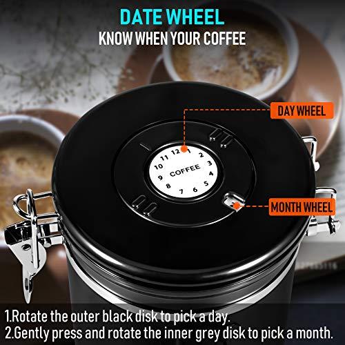 kaffeedose luftdicht 1kg bohnen, 1800ML Edelstahl kaffeebohnen behälter vorratsdosen mit 60ML Mini-Reiseglas, Datums-Tracker, 30ML Messlöffel messen und CO2 Einwegventil für bohnen, pulver, Zucker,Tee
