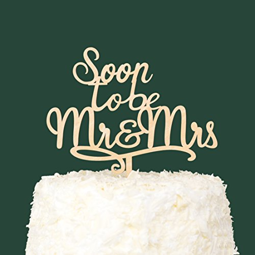 LOVENJOY with Gift Box Soon To Be Mr and Mrs Monogram Rustic Wood Wedding Engagement Cake Topper (5.9-inch) by LOVENJOY (Image #2)