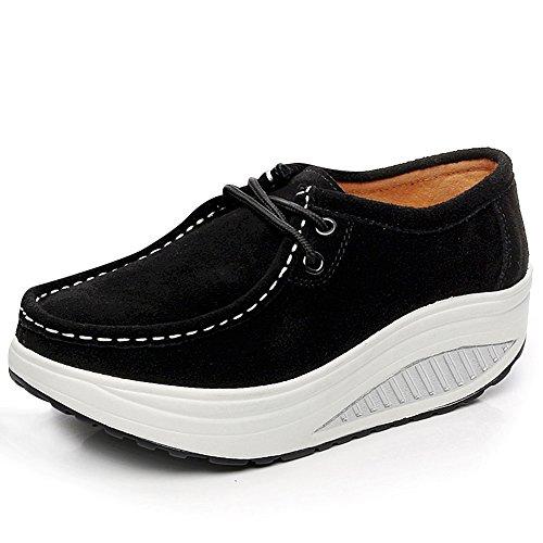 rismart Women Suede Shape Up Walking Shoes Lightweight Swing Wedge Shoes Fashion Sneakers Black 1061 US6