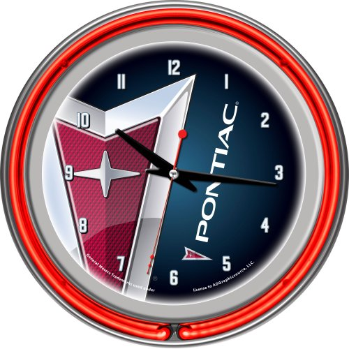 Neon Clock Team 14 - Pontiac Chrome Double Ring Neon Clock, 14
