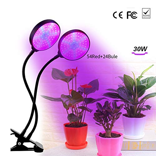 WETRR Plant Lamp, LED Grow Lamp, Full Spectrum Grow Light, 78 LED Chips Plant Light for Green House Hydroponic Indoor Plants Veg Flower, 360 Degree, 5 Level Dimmable ()