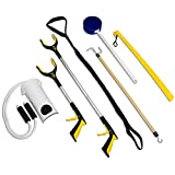 RMS Royal Medical Solutions Inc. RMS 7-Piece Hip Knee Replacement Kit with Leg Lifter 19 and 32 inch Rotating Reacher Grabber Long Handle Shoe Horn Sock Aid Dressing Stick Bath Sponge - Ideal for Knee or Back Surgery Recovery