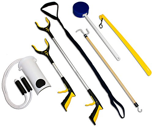 RMS 7-Piece Hip Knee Replacement Kit with Leg Lifter, 19 and 32 inch Rotating Reacher Grabber, Long Handle Shoe Horn, Sock Aid, Dressing Stick, Bath Sponge - Ideal for Knee or Back Surgery Recovery from RMS Royal Medical Solutions, Inc.