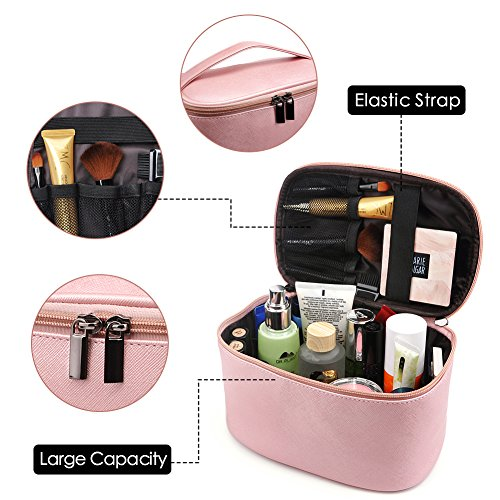 Cosmetic Bag,365park Travel Cosmetics MakeUp Case Organizer Bag with Brush Holder(Z005/Pink) by 365park (Image #4)