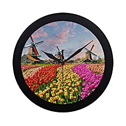 Modern Simple Beautiful Flourishing Tulips Wall Clock Indoor Movement Wall Clcok for Office,Bathroom,livingroom Decorative 9.65 Inch