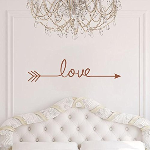 Geometric ''LOVE'' Arrow Wall Sticker,Woaills Removable Vinyl Carving Home Decoration Decal Living Room Bedroom (brown)