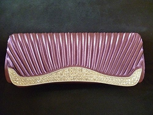 DIAMANTE EVENING BRIDESMAID RUCHED FORMAL WEAR OCCASION LIGHT BAG BRIDAL PROM CLUTCH PURPLE TqZEwE