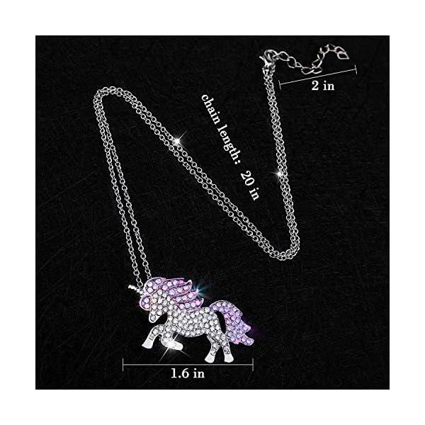 Gleamart Unicorn Necklace Rainbow Rhinestone Crystal Necklace for Women 9