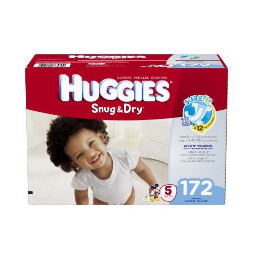 harga Huggies Snug and Dry Diapers, Size 5, Economy Plus Pack, 172 Count Hargadunia.com