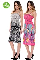 Womens Summer Floral Print Sundress (2 or 4 Pack) - Assorted Colors ...