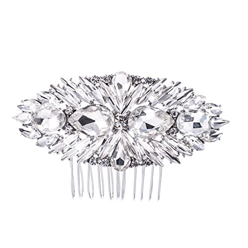 SEPBRIDALS Crystal Rhinestone Bride Wedding Hair Comb Pins Side Comb Accessories Jewelry GT4379 (Silver)